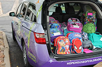 61 Backpacks Collected for our Teen Moms and Kids!